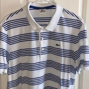 Lacoste White and blue stripe polo size 7/XL